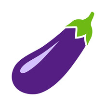 Eggplant, Aubergine, Melongene Or Brinjal Flat Color Icon For Apps And Websites