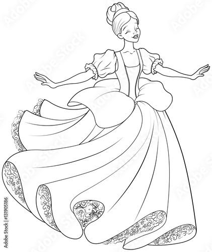 In de dag Sprookjeswereld The Ball Dance of Cinderella Coloring Page