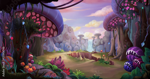 Fotobehang Zwart Alien Planet Surface Environment. Video Game's Digital CG Artwork, Concept Illustration, Realistic Cartoon Style Background