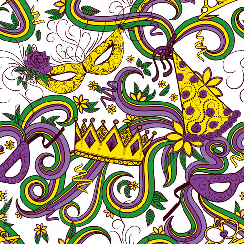 Cotton fabric Mardi Gras seamless pattern. Colorful background with carnival mask and hats, crowns, ribbons and flowers. Vector illustration