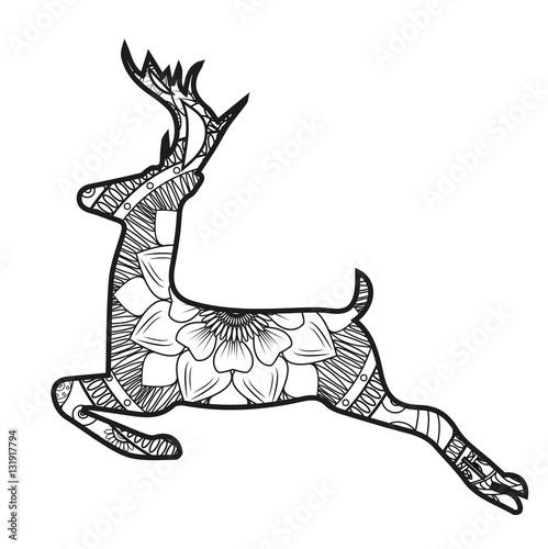 Renne Da Colorare.Vector Illustration Of A Reindeer Mandala For Coloring Book Renna