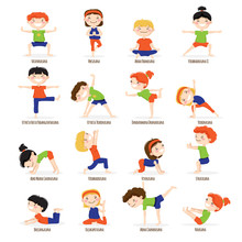Kids Children Yoga Poses Carto...