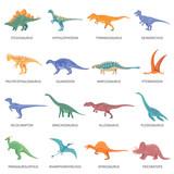 Fototapeta Fototapety na ścianę do pokoju dziecięcego - Dinosaurs Colored Isolated Icons Set