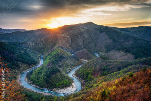 Foto op Aluminium Rivier Spring morning along the Arda river, Rhodope Mountains, Bulgaria