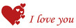 Love greeting card with red hearts