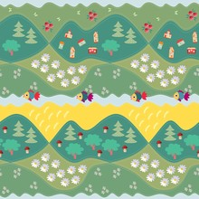 Summer Seamless Pattern - 2. Print For Fabric, Paper, Wallpaper, Wrapping. Vector Illustration. Countryside.