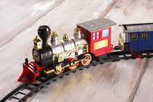 Toy Train On The Reclaimed Wood Floor