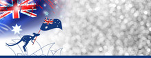 Australia Day Design Of Kangaroo And Flag With Firework