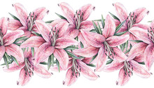Pink Lily Flowers Isolated On White Background. Watercolor Handwork Illustration. Drawing Of Blooming Lily With Green Leaves. Seamless Pattern Frame Border With Lilies For Design.