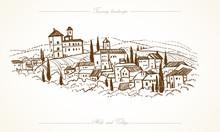 Tuscany Landscape Hand Drawn Illustration