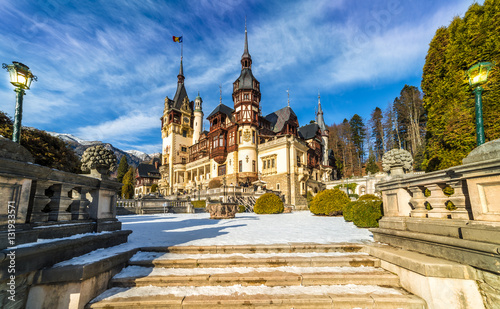 Peles castle Sinaia in winter season, Transylvania, Romania protected by Unesco Canvas Print