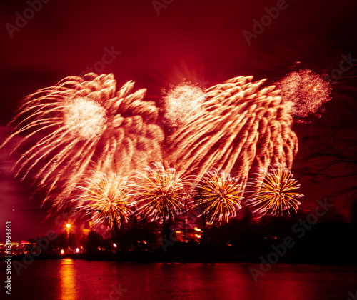 Recess Fitting Bordeaux Abstract, blurry, bokeh-style colorful photo of fireworks above the river in New Year