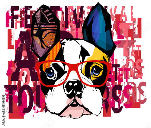 Tuinposter Art Studio Portrait of french bulldog wearing sunglasses