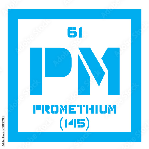 Promethium Chemical Element Radioactive Element Colored Icon With