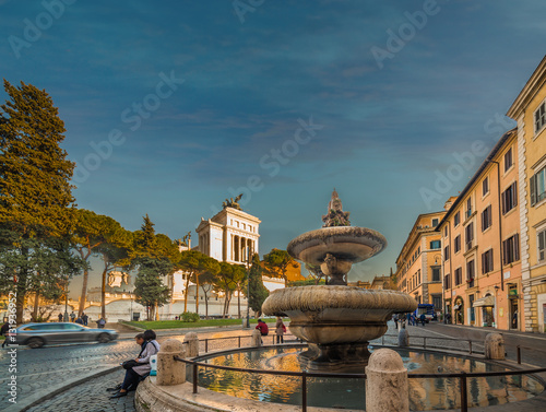 Foto op Aluminium Florence fountain and Altar of the Fatherland in Rome