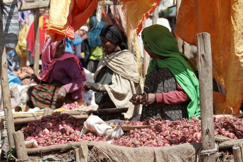 Türaufkleber Afrika Der Marktplatz von Debark in Äthiopien