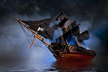 Model Pirate Ship With Fog And...