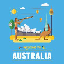 Flat Design, Australia Landmarks And Icons, Vector
