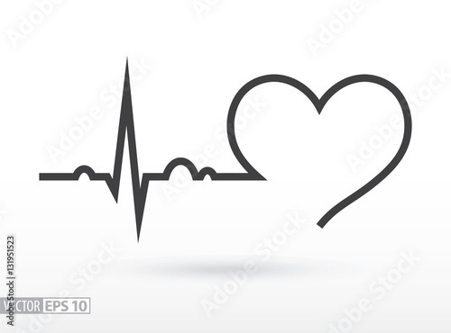 Photo  Heart beat. Cardiogram. Cardiac cycle. Medical icon.