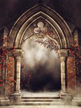 Gotycka Brama Z Różami I Blu...