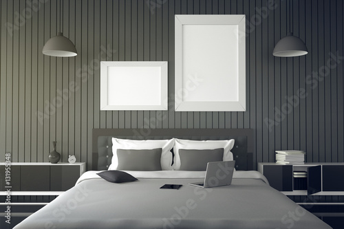 3D Rendering : Illustration Of Modern House Interior.bed Room Part Of  House.Spacious