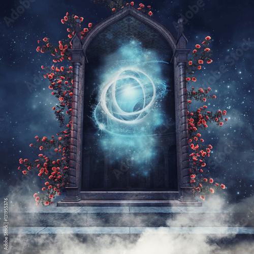 Fototapeta Magiczny portal z różami na tle nocnego nieba obraz