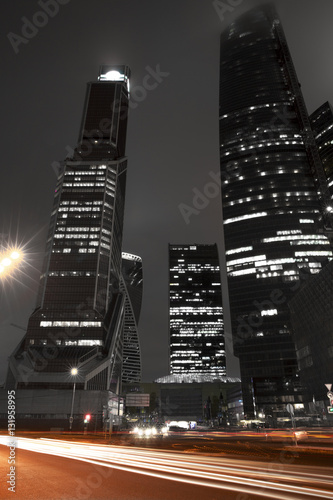Moscow City International Business Center at night, Russia