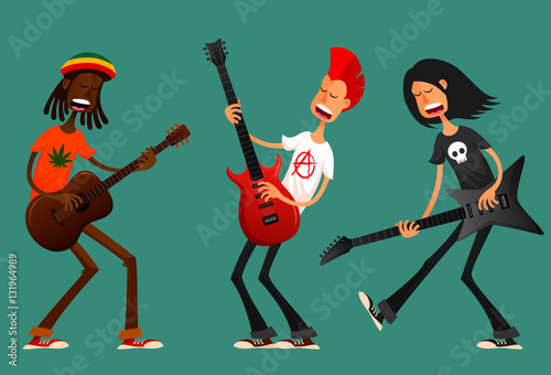 Photo  funny cartoon guys playing guitar and singing passionately