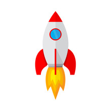 Spaceship Icon In Flat Design....