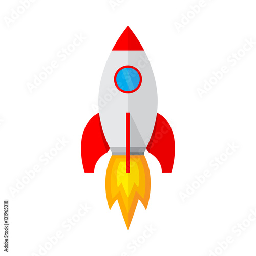 Spaceship icon in flat design. Vector illustration. Fotobehang
