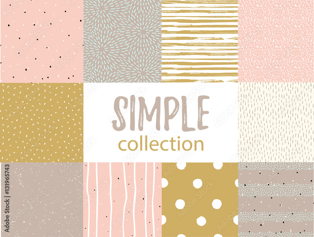 Fototapeta Vector seamless patterns with universal simple textures. Set for fabric, gift wrap and wallpaper.