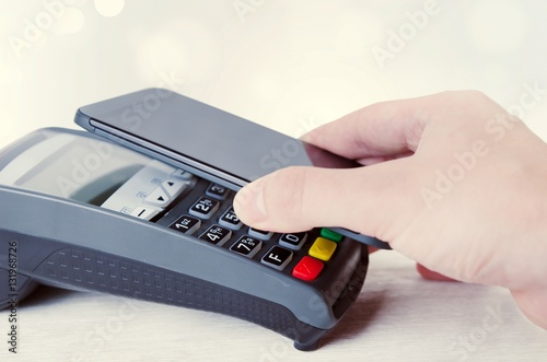 Photo  Mobile payment with smart phone