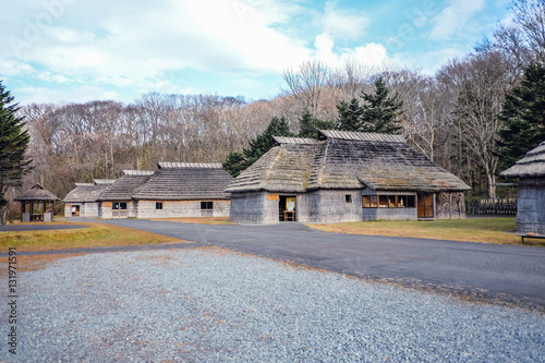 Photo The old village ancient in Japan, Ainu hut is living in Hokkaido
