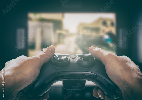 Gaming game play video on tv or monitor. Gamer concept. фототапет