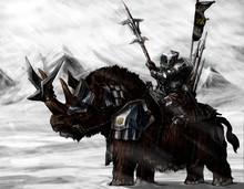 Military Dwarf On A Rhino