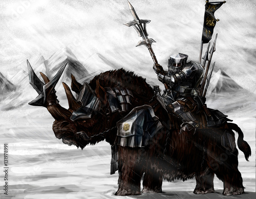 Military dwarf on a Rhino Canvas Print