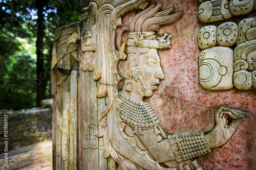 Detail of a bas-relief carving in the ancient Mayan city of Palenque, Chiapas, M Canvas Print