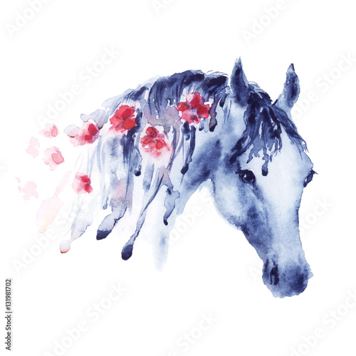 violet-watercolor-horse-head-portrait-with-red-flowers-in-mane-beautiful-hand-drawing-illustration-on-white