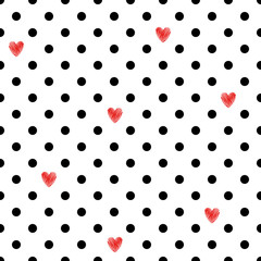 NaklejkaPolka dot seamless pattern with red hearts. Valentines Day design. Romantic vector background.
