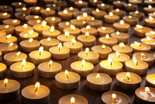 Candles Alight On Table