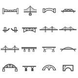 Fototapeta Most - bridge line icon set vector