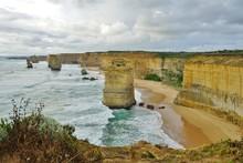 The Twelve Apostles Rock Formations Off The Great Ocean Road In Victoria, Australia