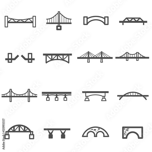 bridge line icon set vector