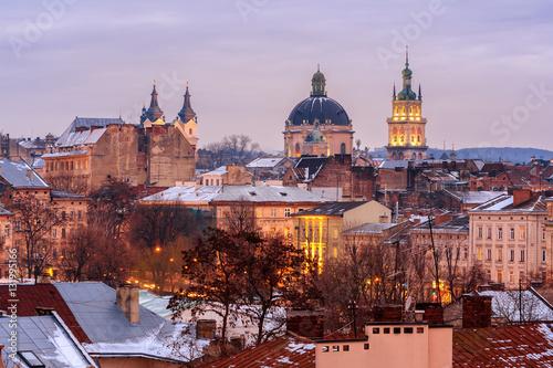 Papiers peints Madrid Evening city. Lviv, Ukraine.