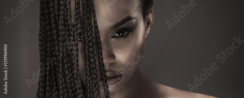 Obraz Portrait of beautiful african girl. - fototapety do salonu