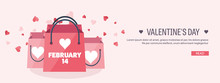 Vector Illustration. Flat Background With Shopping Bags. Love, Hearts. Valentines Day. Be My Valentine. 14 February.