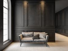 Sofa In Classic Black Interior...