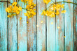 Leinwandbild Motiv Yellow flowers on vintage wooden background, border design. vintage color tone - concept flower of spring or summer background