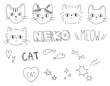 アナログ手書き・落書き風 猫のイラストカット セット素材 白背景・ベクター