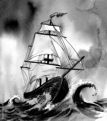 In de dag Schip Old ship in stormy sea